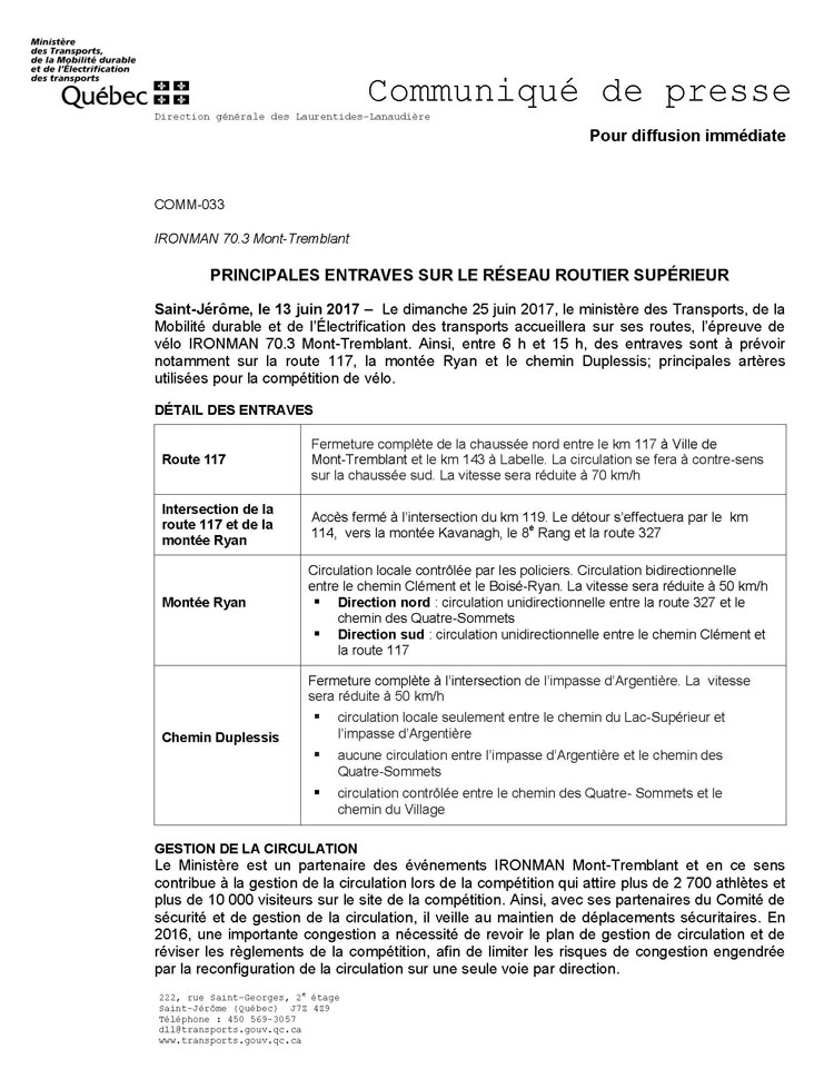 COMM 033 IRONMAN703 Diffusion des entraves Page 1