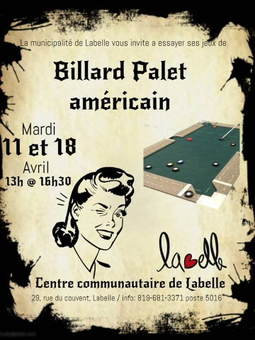 billard palet 11 et 18 avril