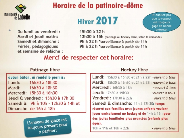 horaire patinoire 2017