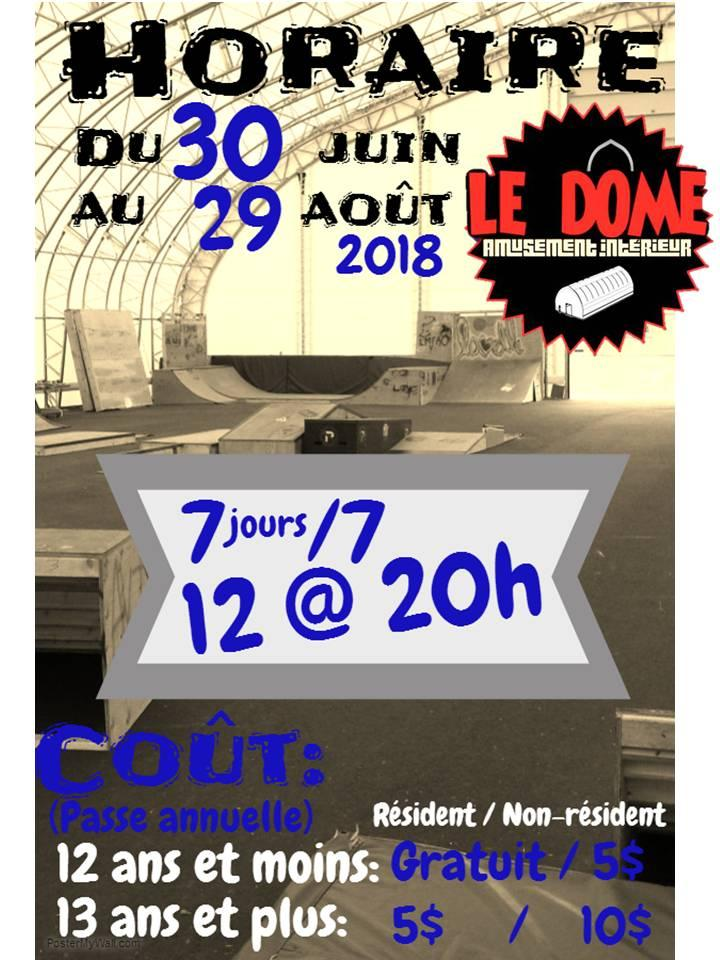 horaire dome ete 2018