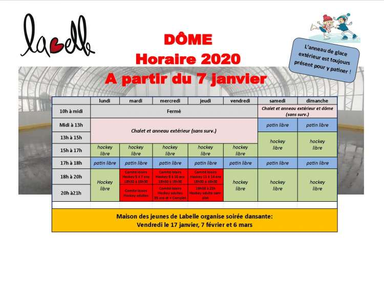 Horaire dome 2019 2020